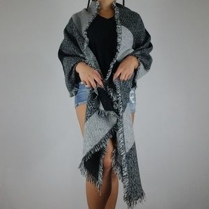 Gray and Black Blanket Scarf